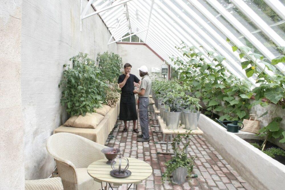 Ljust tegelgolv i växthus.