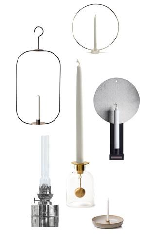 Sex olika ljusstakar i ett kollage