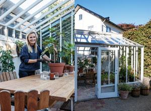 Monica Kylén, grundare av L:a Bruket planterar om i sitt Växthus i Varberg