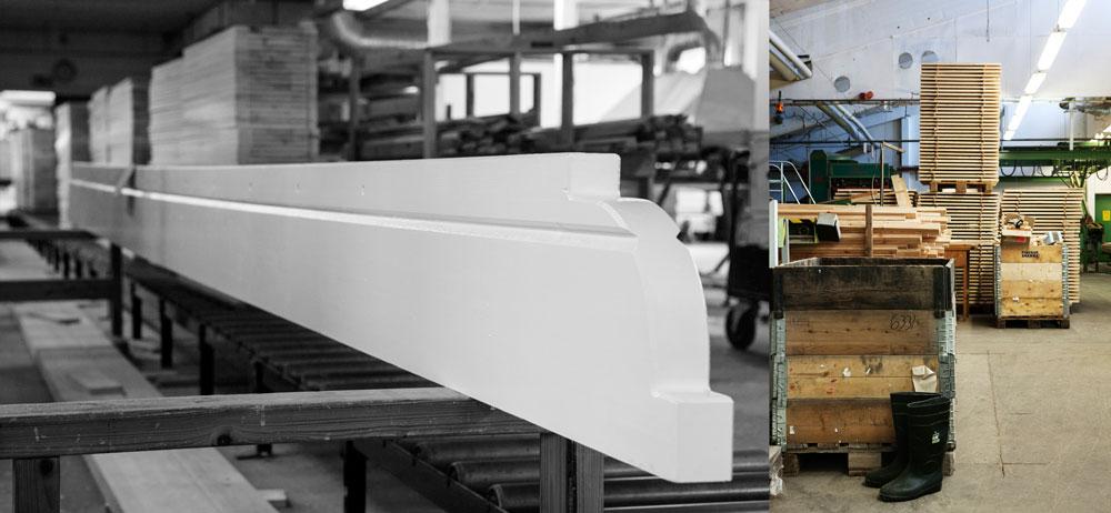 Lundqvist inredningar, taknock i Sweden Green House karaktäristiska formspråk och interiörbild från fabriken där vi tillverkar våra växthus
