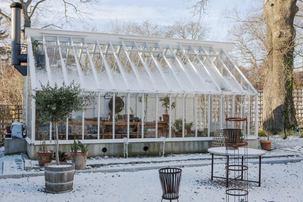 Vitmålat växthus i vinterskrud med olivträd och eldkorg i förgrunden.