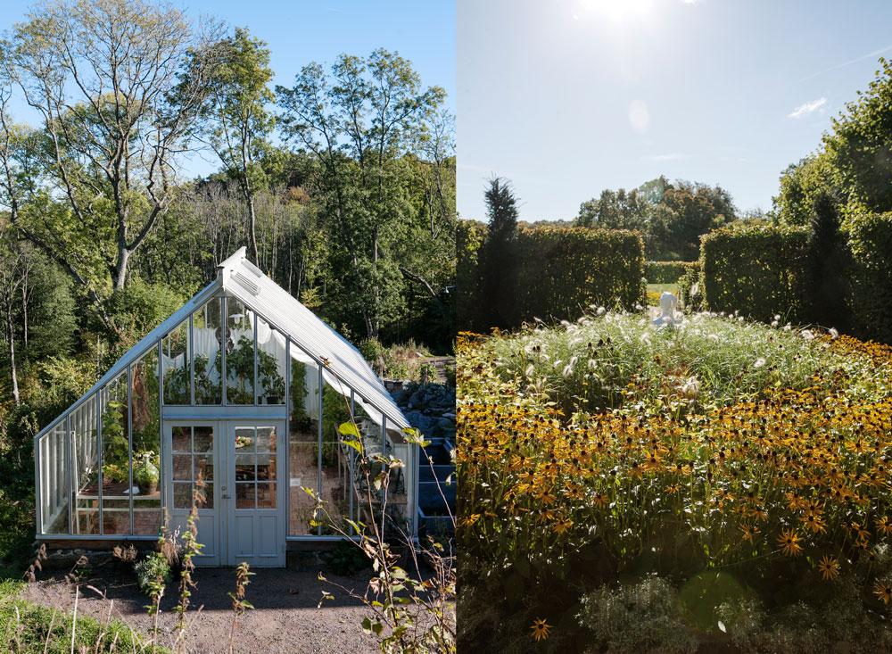 Växthuset på Gunnebo slott och en del av trädgården
