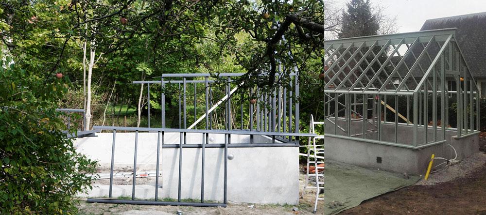 Montering av växthus, ett grått i Nacka och ett gröngrått i Malmötrakten