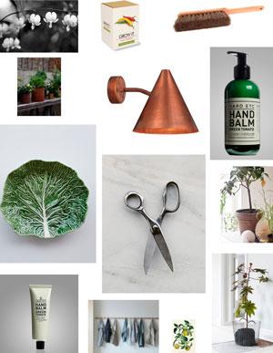 En önskelista illustrerad i bild, saker som man kan ge i julklapp till en växthusägare