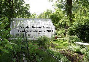 Ett växthus med trädgård i förgrunden och texten Trädgårdstrender 2017 skrivet ovanpå