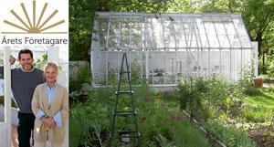 Kollage med Eva och Magnus, ett växthus och symbolen för Årets företagare
