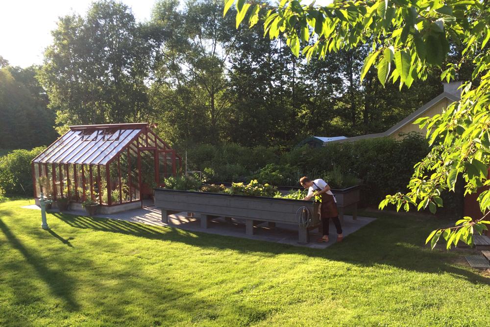 Ett litet rött växthus utan bygglov