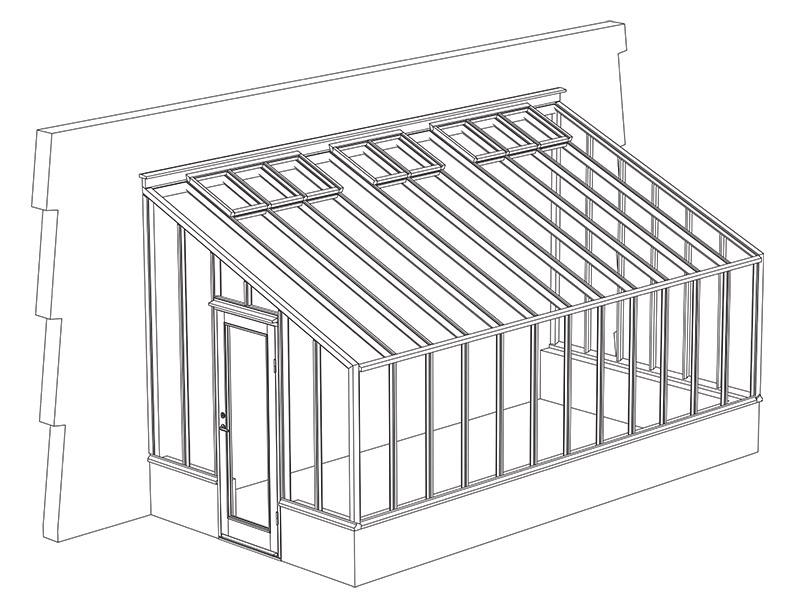 Växthus med pulpettak byggd mot vägg.