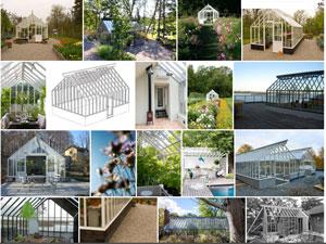 Ett bildkollag som illustrerar på förstasidan av vårt galleri som är en ny funktion på vår hemsida i vilken man kan filtrera fram bilder på olika typer av växthus