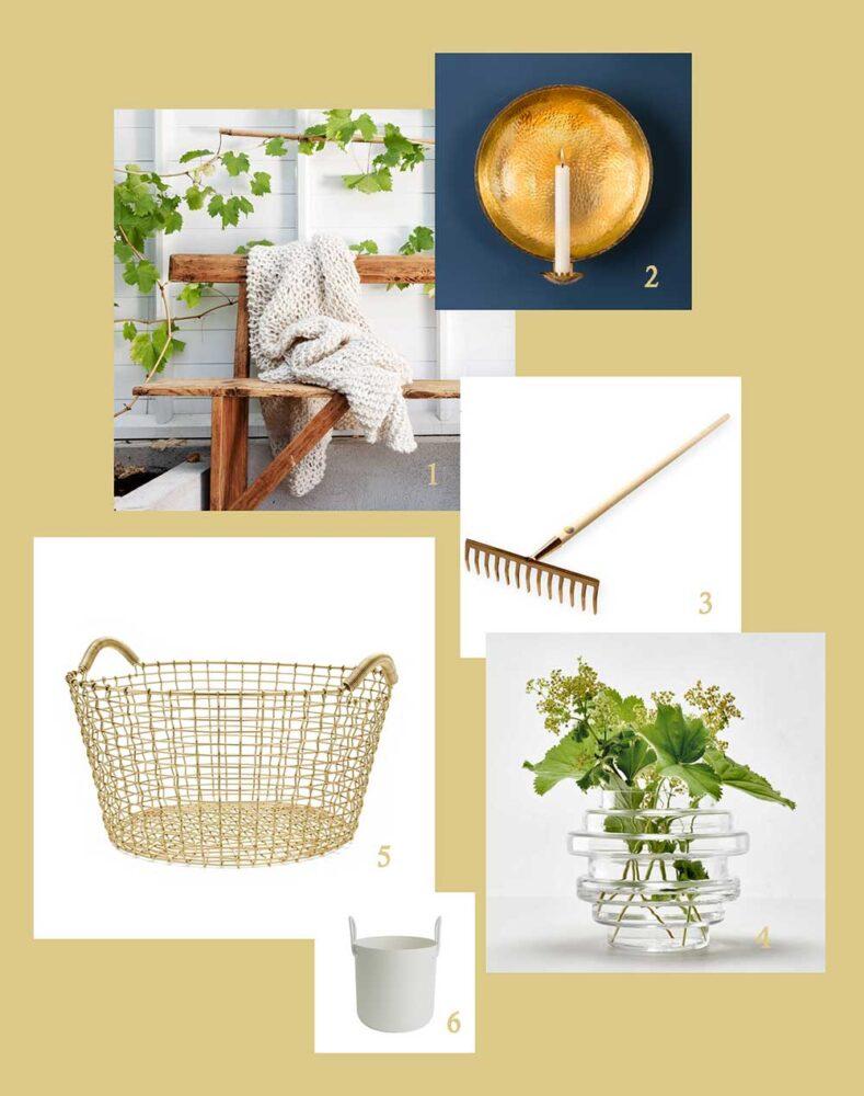 Kollage med produkter som förgyller trädgårdsarbetet och växthuset, allt kommer från Sweden Green House växthus