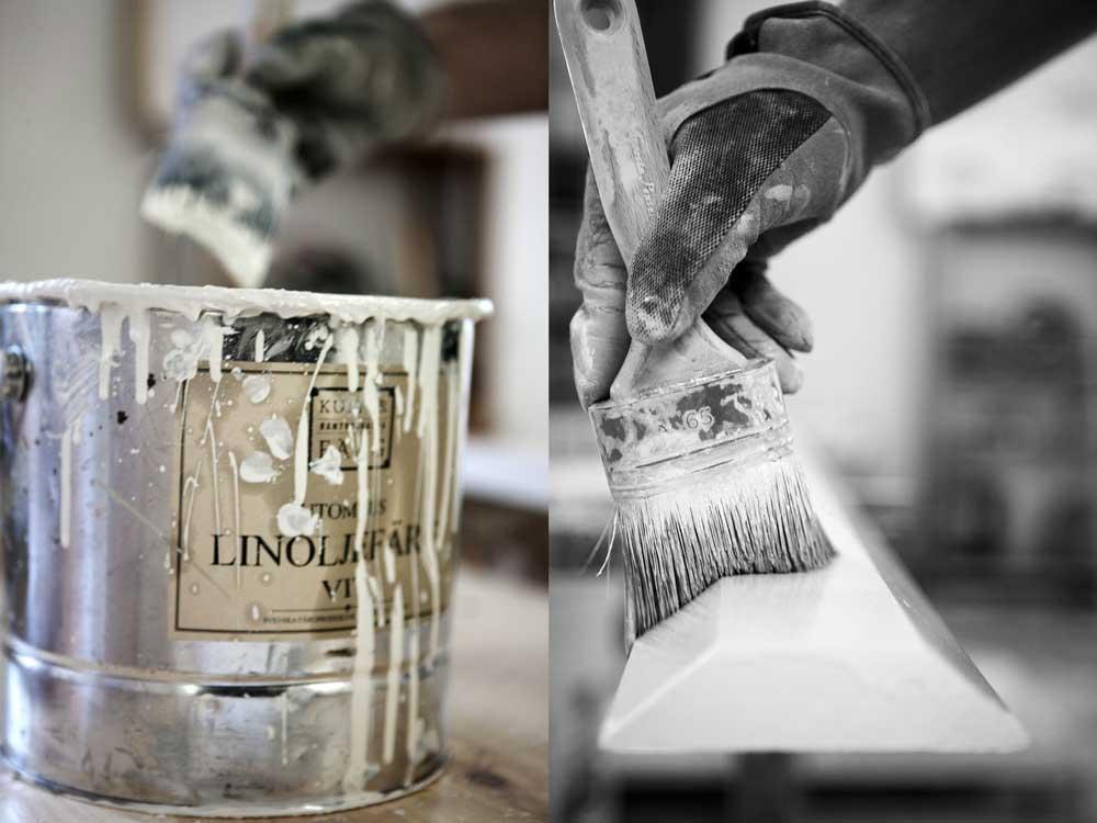 Linoljefärg ska målas i tunna lager. minst tre gånger. Resultatet blir bäst om man använder en kvalitetspensel.