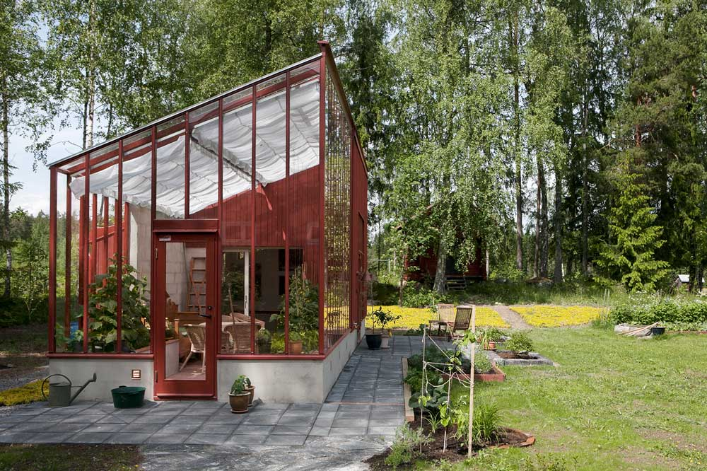 gaveln på det växthus som vi byggt på villa Norsbo strax utanför Falun.