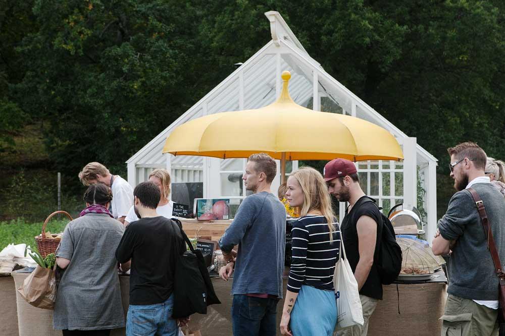 Ett växthus med sadeltak som vi byggt i trädgården på Rosendal.