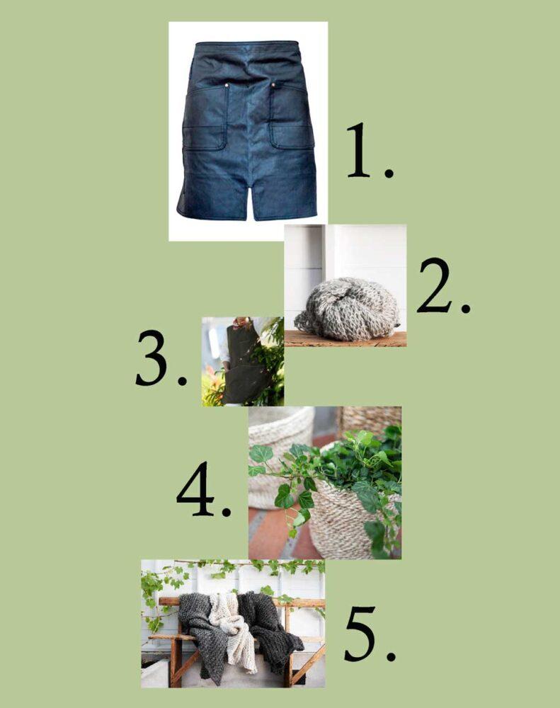 Här är september månads önskelista. Alla produkter, det vill säga förkläde, trädgårdstunika, sjal, pläd och korg, finns i vår butik.