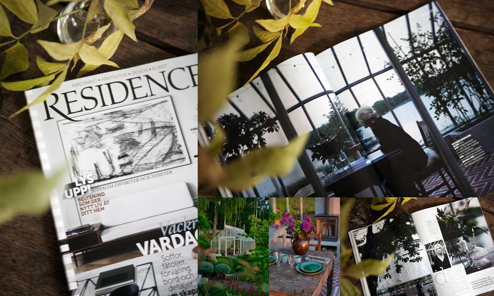 Växthuset som Sweden Green House byggt hos Victoria Skoglund från Zetas trädgård är porträtterat i inredningsmagasinet Recidence.