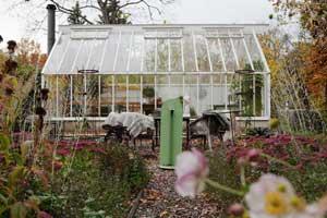 Växthuset i nacka omgiven växter i höstens färger.