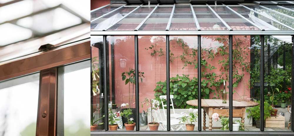 Alla växthus och orangerier från Sweden Green House förses med metallister vilket minskar underhållet.