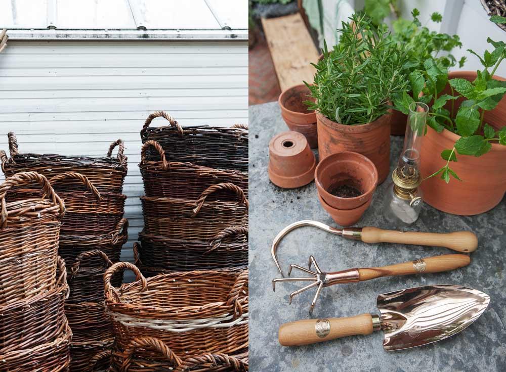 Produkter som vi kommer säljka den 26 november då vi har öppet hus., korgar och kopparverktyg bland annat.