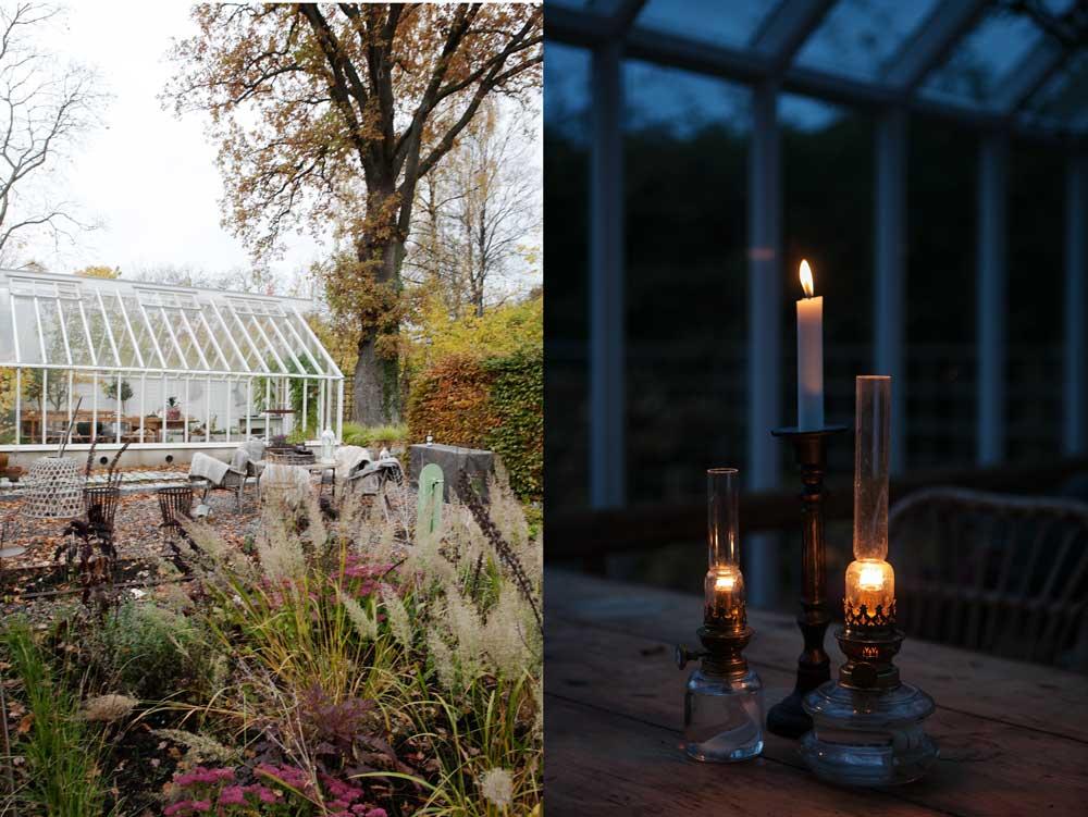 Dublett med bild på växthuset i höstskrud tillsammans med en bild på tända ljus och oljelampor som står på bordet i växthuset
