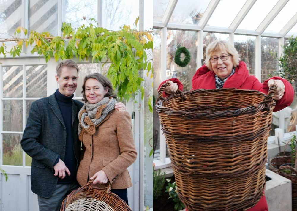 Några av besökarna på Sweden Green House öppna hus passade på att köpa korgar tillverkade av biståndsorganisationen Hjärta till hjärta.