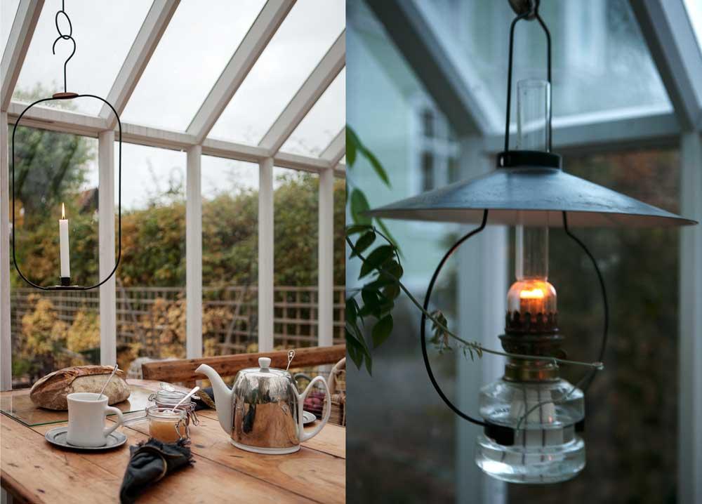 Upphängningsbar oljelampa och Hank av Kristina Stark är blir fina ljuspunkter i växthuset.