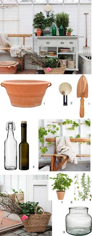 Växthusets planteringsbord och produkter som du behöver ha i din närhet när du arbetar i växthuset.