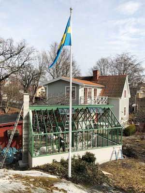 Grönt växthus i Vaxholm.