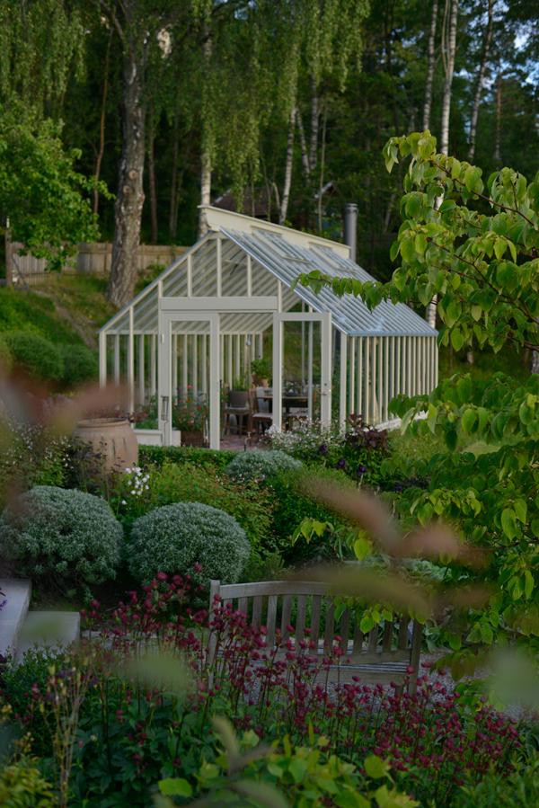 Växthus med sadeltak som är 3,5 m brett