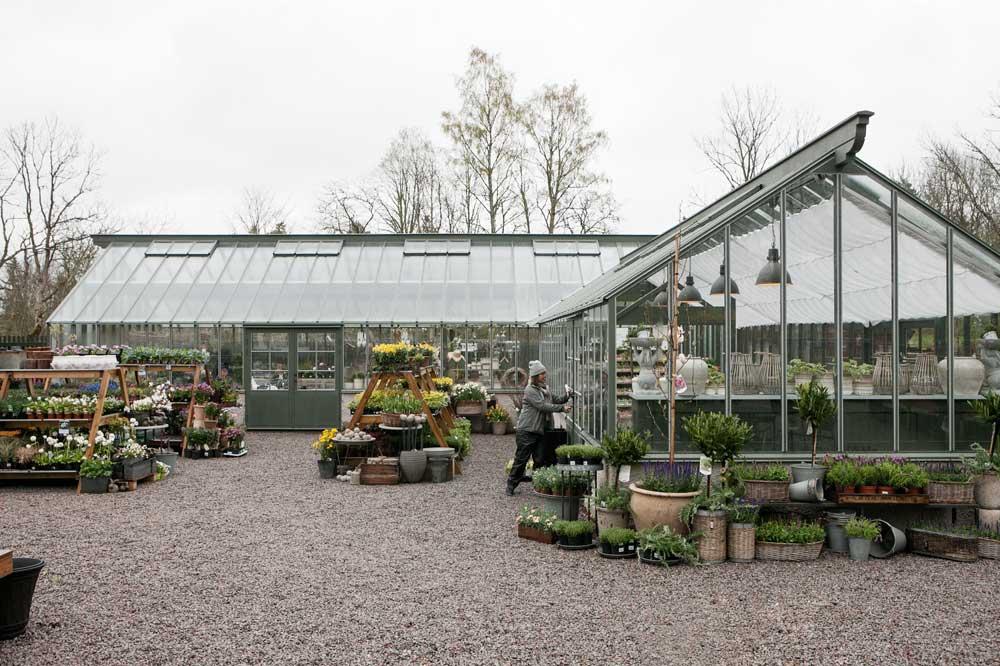 Stort grönt arkitektritat växthus.