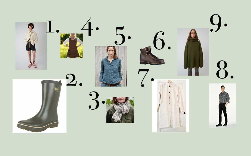 Lista med kläder för växthuslivet.