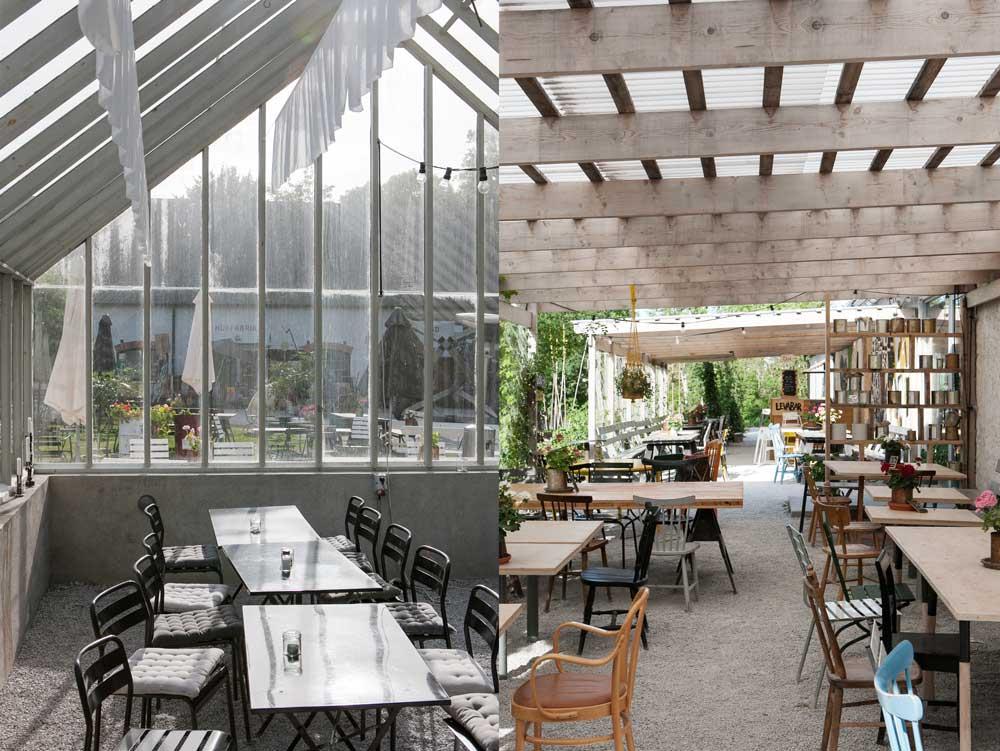 I växthuset på Leva Kungslador café, bageri och butik.