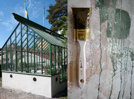 Växthusen från Sweden Green House är målade för hand med linoljefärg.