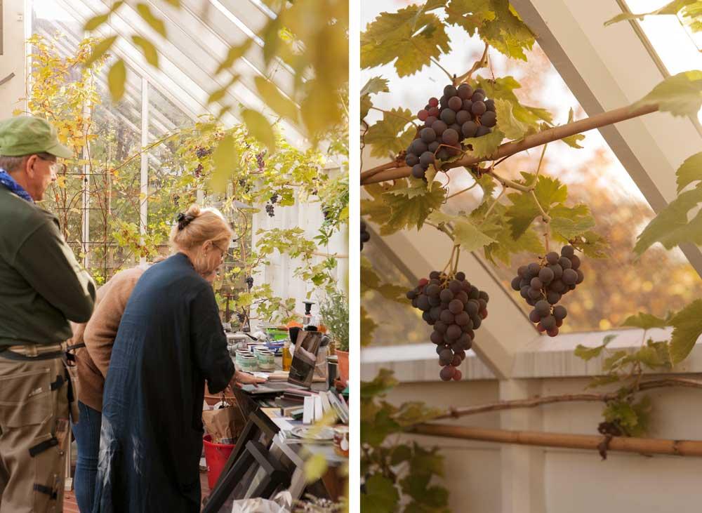 Eva och Bengt från sweden Green House visar växthus på datorn för en kund.