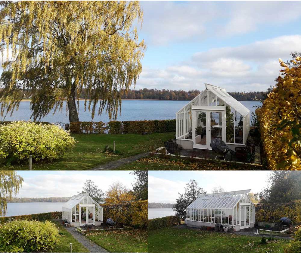 ett växthus med sadeltak beläget med utsikt över en sjö i Ed.