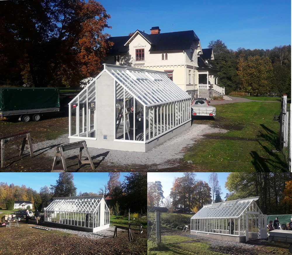 ett växthus med sadeltak förberett för braskamin i Hallsberg.