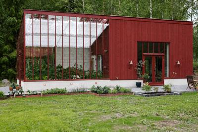 Växthus i engelskt rött