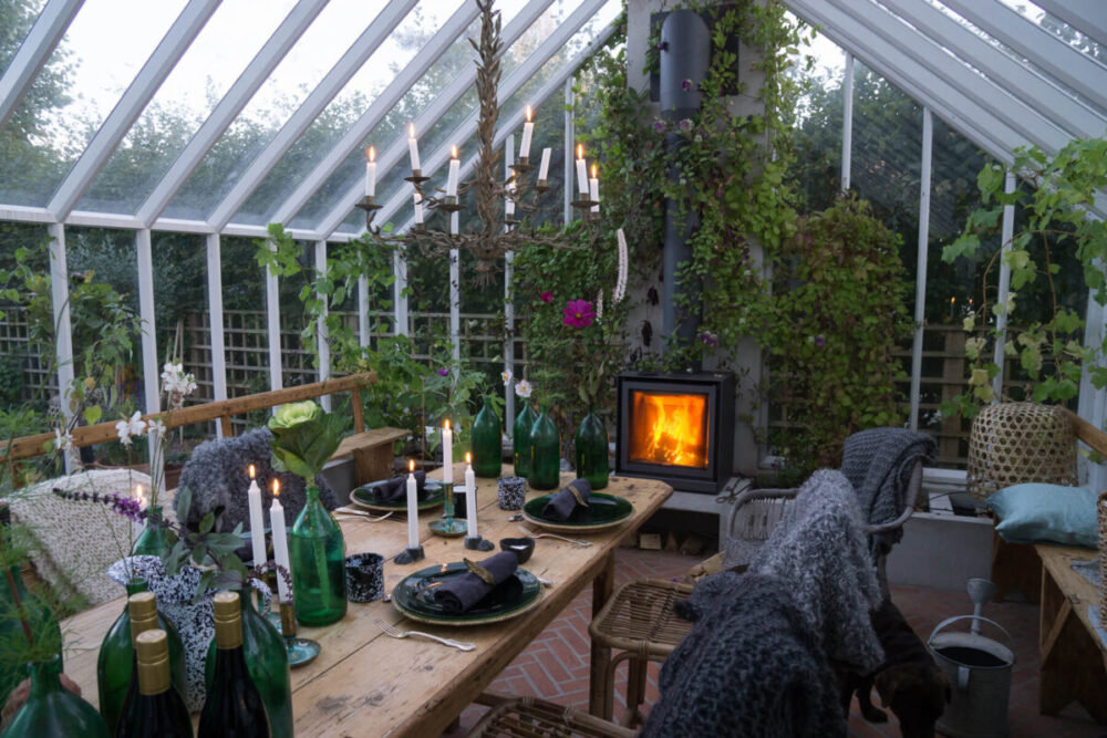 En kamin som passar i växthus