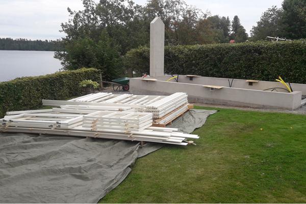 Murverk för kamin till växthus