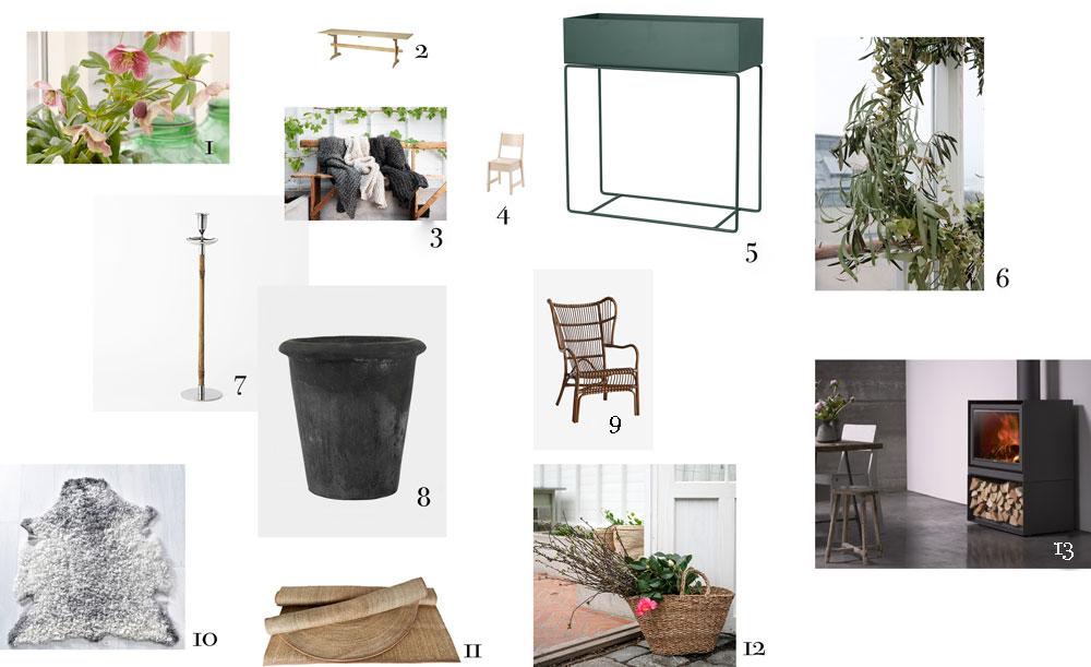 Ett kollage med produkter som skapar en liknande inredning  i ett växthus.