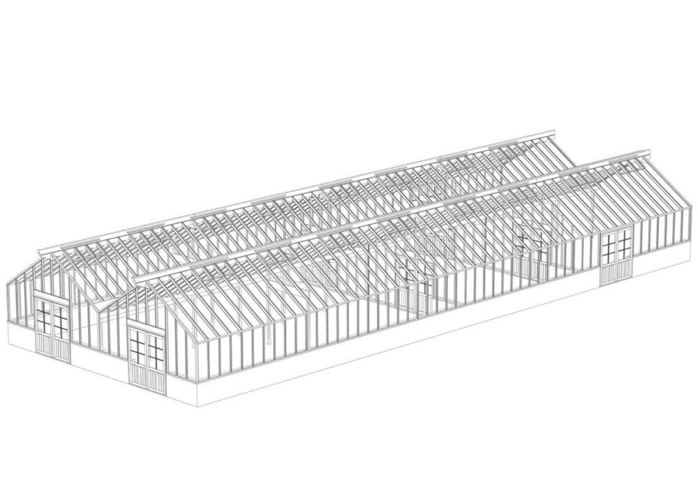 3D ritning på ett arkitektritat stort växthus
