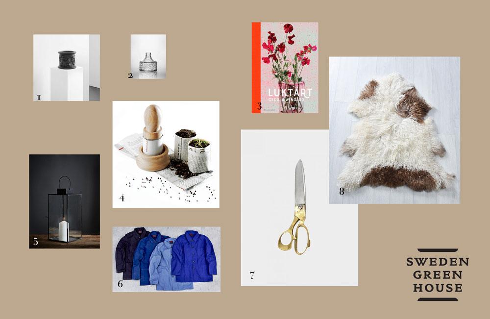 Bildkollag med utvalda produkter att ge bort i jul till någon som gillar växthus..