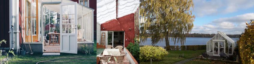 Växthus med pulpettak, från en växthuinredning och ett växthus med utsikt.