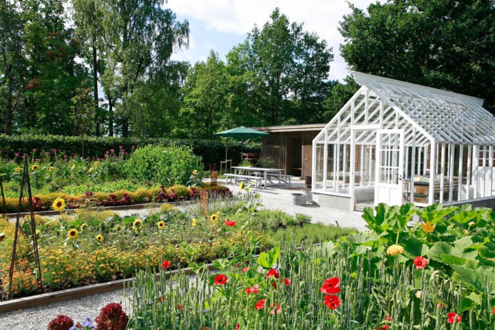 Ett vitt växthus i en trädgård