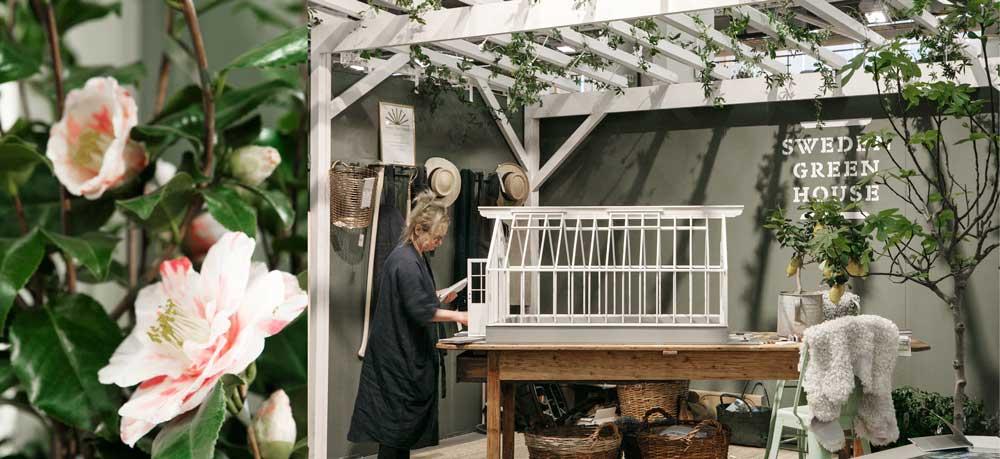 Vår monter på Nordiska Trädgårdar med växthusmodell.