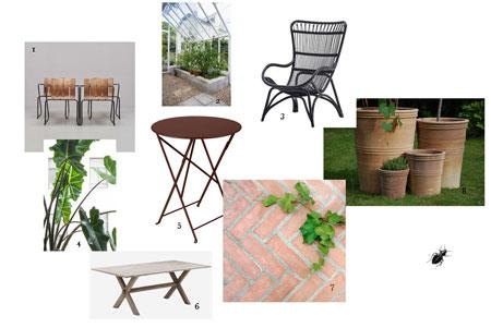Bildkollage med inredning till ett växthus med orangeristil.