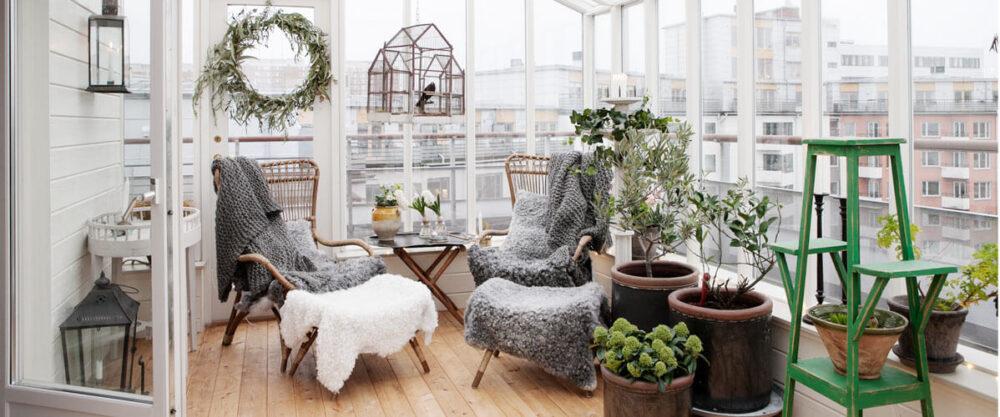 Vinterträdgård på en altan