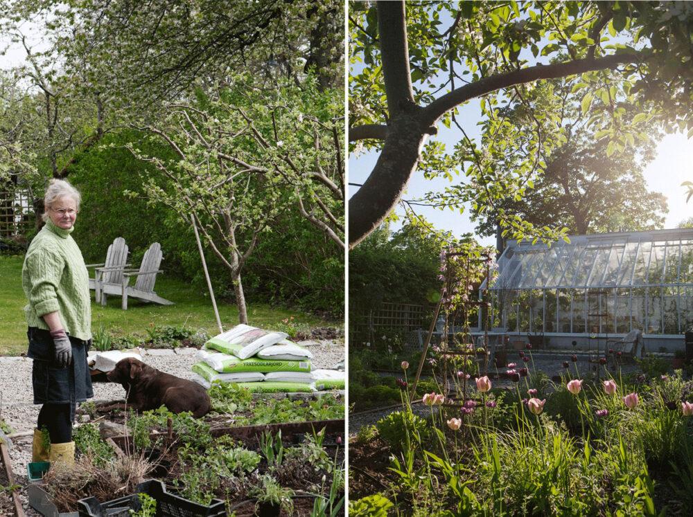 Eva i trädgården framför sitt växthus i trä.