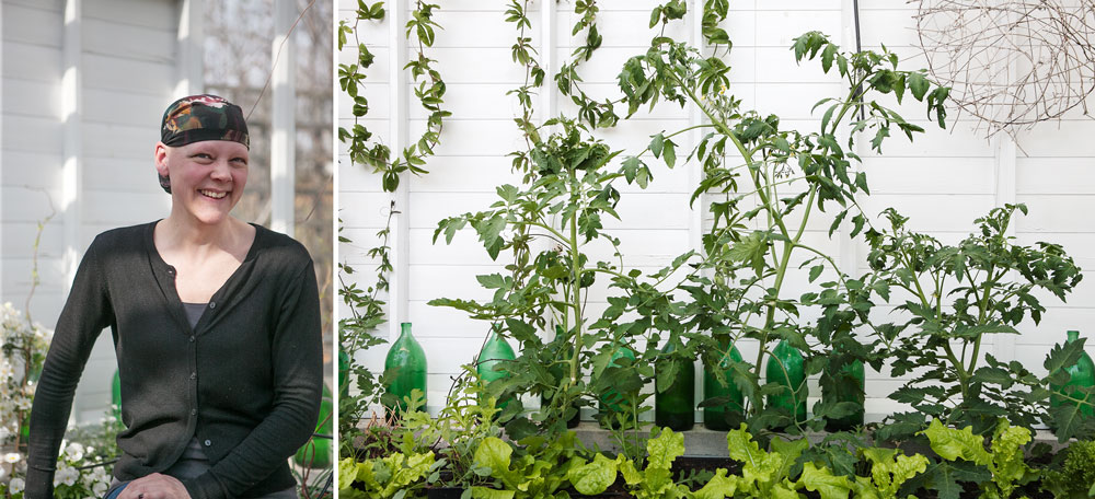 Lisa Jansson i växthuset i Nacka.