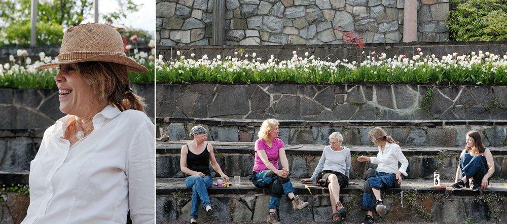 Gänget som planterar på Millesgården.