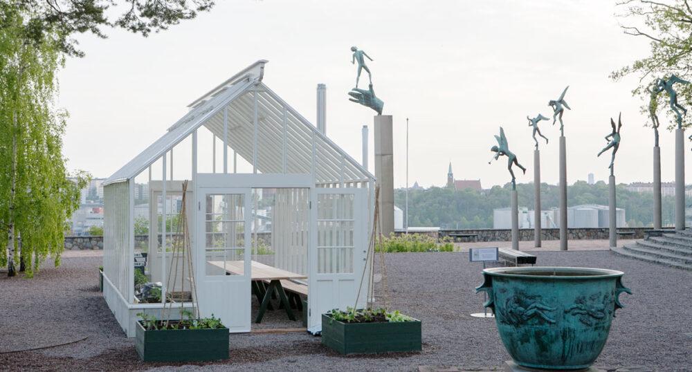 Växthus med sadeltak på Millesgården.